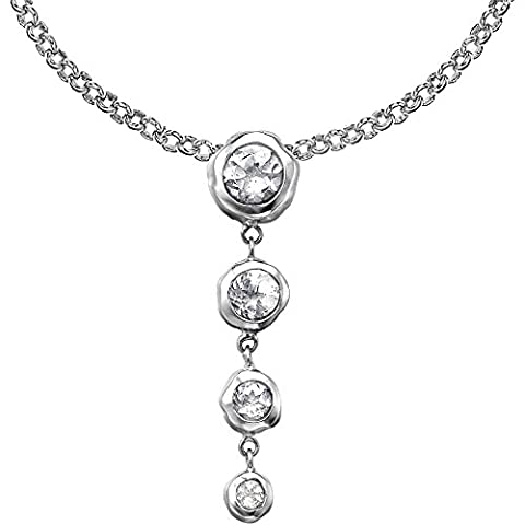 Dower & Hall Dewdrop Silver Graduating White Topaz Beaten Nugget Pendant on 45cm Trace Chain