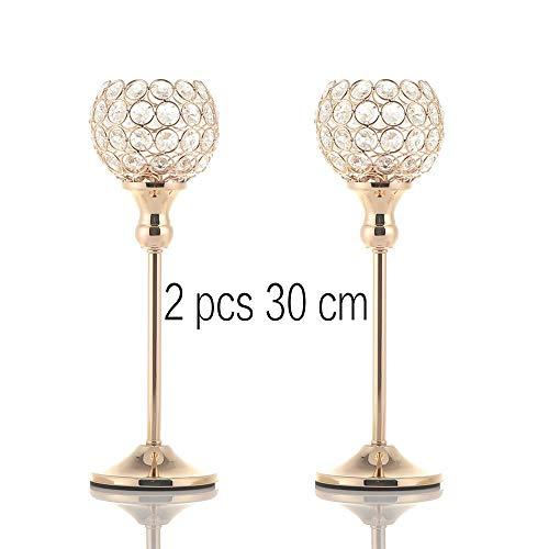 WJJWANA Leuchter Kristall Kerze Halter Stehen Metall Säule Kerzenständer Set Vatertag Urlaub Dekoration Tisch Herzstück 2Stk. 30cm -