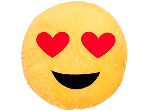 Cuscino decorativo | emoji (ki-06) | diametro 30 cm| peluche | innamorato | emoticone | faccine | divano | molto morbido | confortevole | decorazione | idea regalo