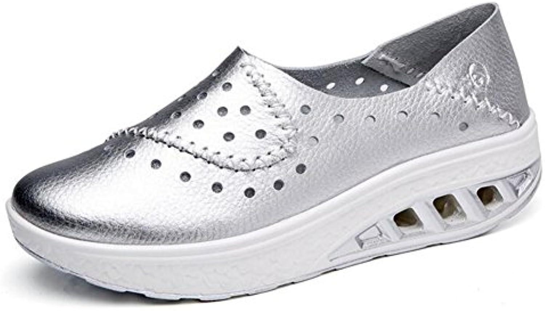 Zapatos de Mujer de Verano de Gran Tamaño de Cuero, Zapatillas de Señora, Mocasines de Fitness, Zapatillas de... -