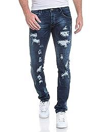 BLZ jeans - Jeans fashion homme bleu foncé délavé usé troué