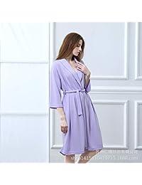Minyine Ropa de Dormir Pijamas Moda Jacquard Lingge Suave transpiración contra la Humedad Camisón Antiarrugas (