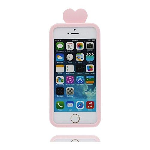Hülle iPhone 5, iPhone 5S Case TPU 3D Cartoon Pill Cute Handyhülle iPhone SE 5s 5G 5C Cover Shell, haltbare weiche Skin Staub-Beleg-Kratzer beständig Pink