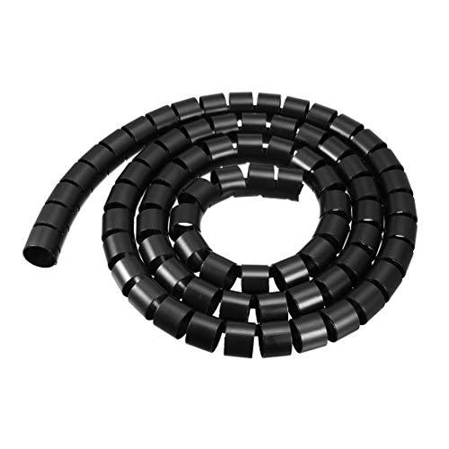 uxcell Flexibles Spiral-Schlauch, 28 mm x 31 mm, 2 m lang, Schwarz