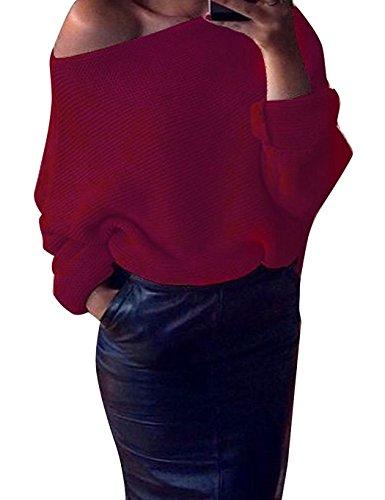 Minetom Donne Autunno Fuori Dalla Spalla Manica Lunga Lavorato A Maglia Maglione Oversize Baggy jumper Maglioni Casuale Camicetta Tops Vino rosso