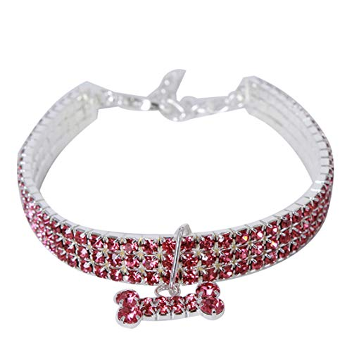 Idiytip Shiny 3 Reihen Strass Haustier Katze Hund Halskette Kragen Schmuck mit Bling Kristallknochen Perfekt für Pet Show Party (Rosa M)