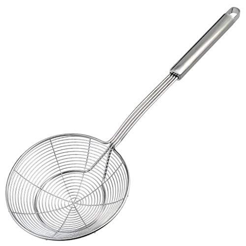 tonver Edelstahl Schaumlöffel Edelstahl Sieb, Draht Skimmer mit Spirale Professional Grade Mesh, Griff Schaumlöffel Kelle Löffel für Nudeln Chips -