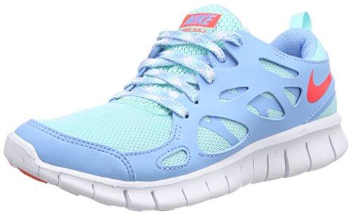 Nike Free Run 2 Unisex-Kinder Laufschuhe Blau (Artsn Tl/Brght Crmsn-Lksd-Whit 301)
