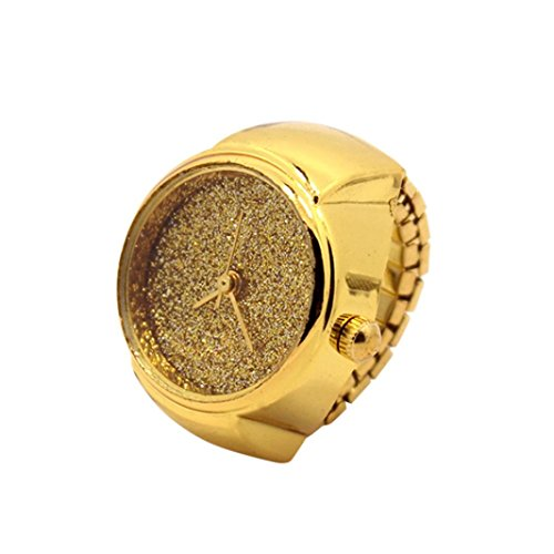 Damen Herren Fashion Finger Ring Uhr Mingfa Creative Stahl Cool Elastic Analog Quarzuhr Verlobungsring Hochzeit Statement Ring, Legierung, Gold, - Gold Kostüm Cocktail Ringe