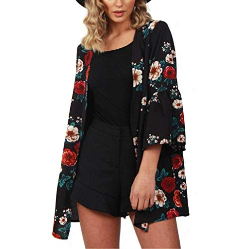 Lazzboy Womens Blouse Floral Print 3/4 Long Sleeve Loose Kimono Cardigan Tops Cover up