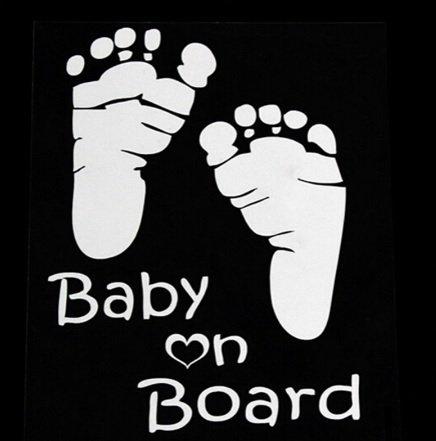 LeSo © Baby on Board Auto Aufkleber Fussabdrücke Car Sticker grau reflektierend S026