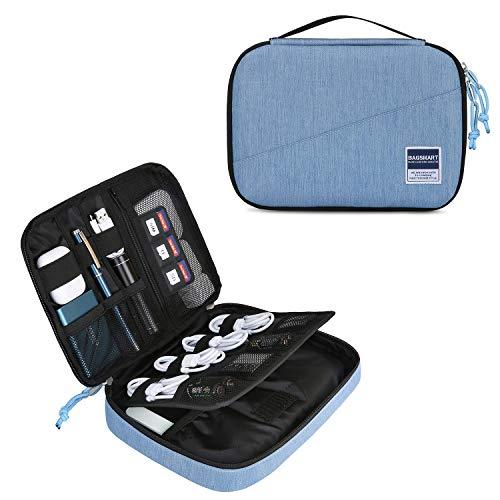 bagsmart Elektronik Organizer Tasche Elektronische Tasche Doppelschichte für 7.9''iPad Mini, Kabel, Festplatte, Adapter, Karten, Hellblau