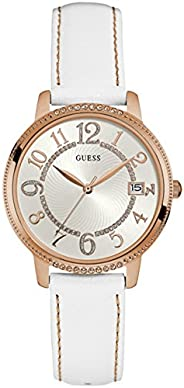 Guess Women'S White Dial Leather Band Watch - W093