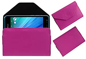 Acm Premium Flip Flap Pouch Case For Infocus Bingo 21 Mobile Leather Cover Magnetic Closure Pink