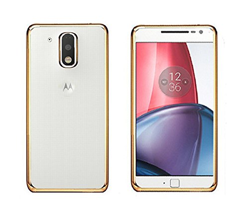 Tarkan Electroplated [Metallic Chrome Finish] Ultra Slim Flexible With Logo Cut Out Back Case Cover For Moto G Plus 4th Gen [G4 Plus, Champagne Gold]