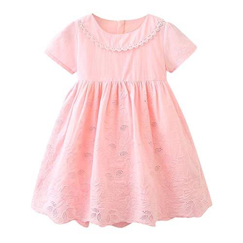 IZHH MäDchen Kurzarm Kleid Ausschnitt Kinder Bestickte Spitze Kleinkind Kinder Baby MäDchen Kleidung Spitze Hohl Party Hochzeit Festzug Prinzessin Dress 2T-7T(Pink,100)