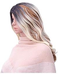 Frcolor Peluca Larga rizada para Cosplay, Peluca de Pelo sintético Degradado para Mujer
