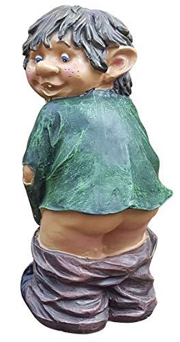 Fachhandel Plus Gartenfigur Gnom Fidi mit nacktem Mors lustige Gartendeko Gnomi Deko-Figur Höhe 32 cm