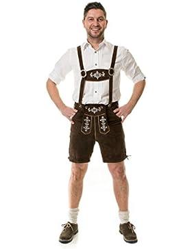 Almwerk Herren Trachten Lederhose kurz Modell Almhirsch in den Farben schwarz und braun