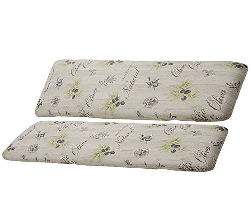 Dehner Bankauflage mit Rückenpolster, Olive 2-Sitzer, je ca. 120 x 45 x 6 cm, Baumwolle/Polyester, beige/braun