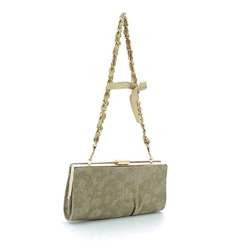 Pochette borsa donna / woman SARA LOPEZ con decorazioni a rilievo bo16314 Taupe