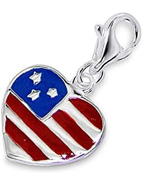 SL-Silver Beat Charm Anhänger Herz USA Flagge 925 Silber