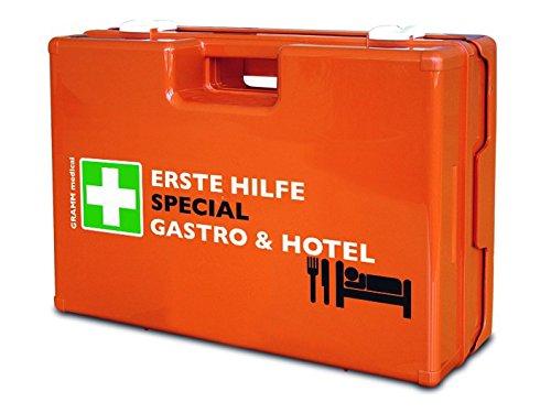 Preisvergleich Produktbild Verbandkoffer SPECIAL mit Inhalt DIN 13 157 + branchenspezifische Zusatzausstattung, Beschreibung:Zusatzausstattung Gastro & Hotel