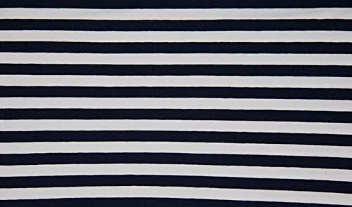 Qualitativ hochwertiger Jersey Stoff Blau/Weiß breit gestreift als Meterware zum Nähen von Baby, Kinder- und Damenkleidung, 50 cm - Weiß Stoff Und Gestreiften Blau