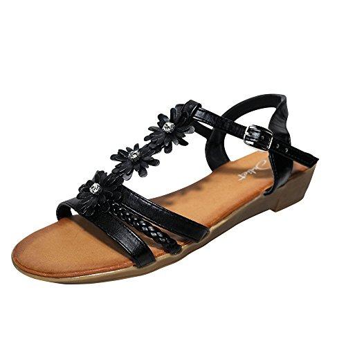 Damen Sandalen Sandaletten Keilabsatz ST43 Blumen Glitzer Zehentrenner Schwarz