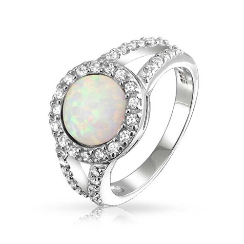 Bling Jewelry Doppel Schaft 6 mm Rund Synthetische weiß Opal Ring 925 Silber rhodiniert Synthetische Opal Verlobungsring
