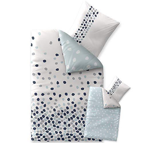 CelinaTex Fashion Bettwäsche Baumwolle Iris Punkte Weiß Blau Grau