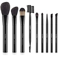 LureSenses Makeup Brush Essential Set, Black (9 Piece)