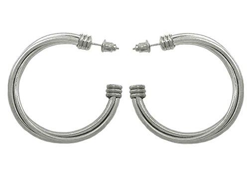 Ohrringe aus Metall silber–Creolen Offene 3Reihen 4cm