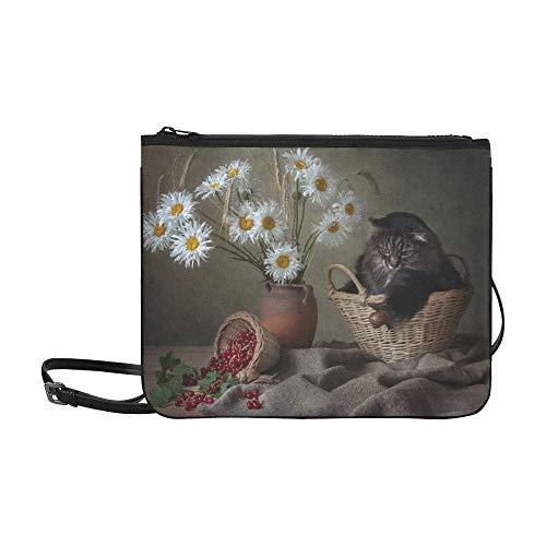 SHAOKAO Katzen in Blumentöpfen Muster benutzerdefinierte hochwertige Nylon dünne Clutch-Tasche Umhängetasche Umhängetasche