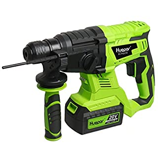 Huepar Power Hammer Drill Cordless Li-ion Battery SDS+, 3 Functions Brushless Rotary Tools with Keyless Chuck, Variable Speed, EC-FQ-218 (20V 4.0Ah Battery, Charger, 3 Bits and Handle Included)