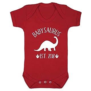 Flox Creative Baby Vest Personalised Babysaurus Date Red 3-6 Months
