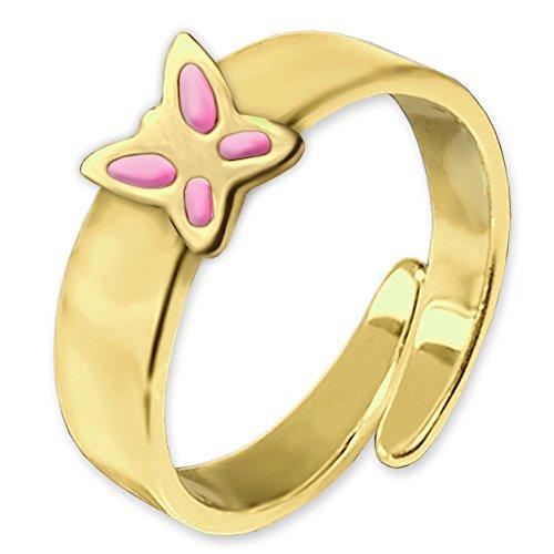 CLEVER SCHMUCK Vergoldeter Kinderring mit rosa Schmetterling flach und glänzend STERLING SILBER 925 gold-plattiert universell einstellbare Größe für Kinder