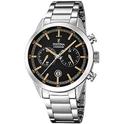 Festina hombre reloj de cuarzo con cronógrafo negro y plata pulsera de acero inoxidable f16826/4