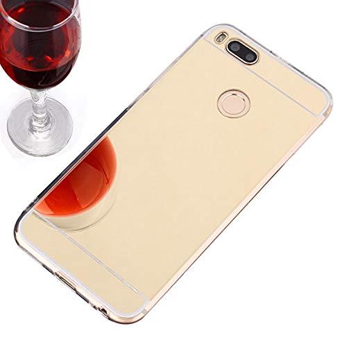 Funda Xiaomi Mi A1,Espejo Silicona TPU Suave Carcasa Protectora para Xiaomi Mi A1,Dorado