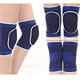 Zhifachay Unverzichtbar 1Pair /Set Elastic Legs Sleeve Brace High Compression Kniestütze Atembare Knee Pads Basketball Running Sports Dance Knee Protector(None Blue)