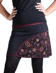 """Vishes - Alternative Bekleidung – Bedruckter und bestickter Baumwollrock mit Blumen und """"Hosentaschen"""""""