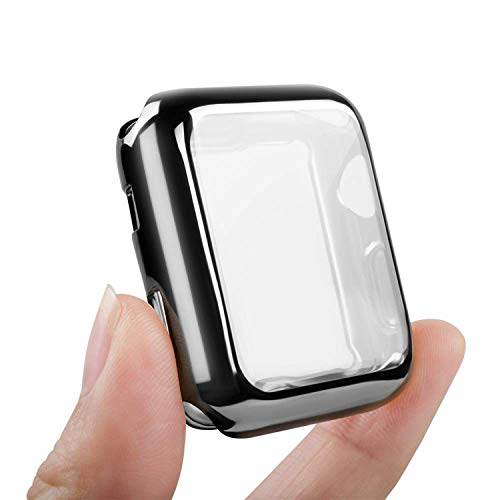 easyult custodia per iwatch 44mm series 4/5, full cover protettivo tpu case placcatura per apple watch 44mm series 4/5, transparent+nero