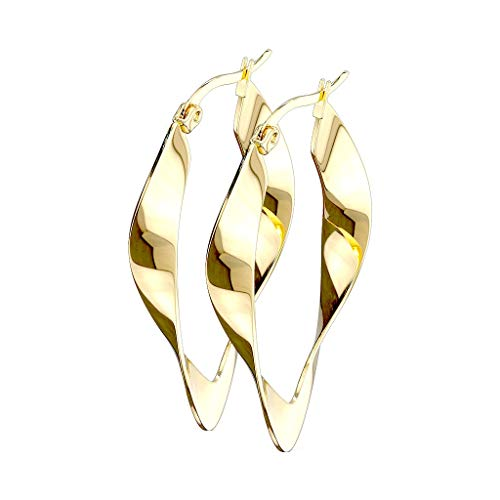beyoutifulthings 1 Paar Damen Ohringe verdrehte CREOLEN OVALES-DESIGN Ohr-ringe Set Ohr-stecker Chirurgenstahl Gold (Twisted Creolen Gold)