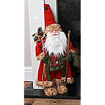 Small Standing 30Cm Father Christmas Grey Santa Figure Decoration Xmas Gift New