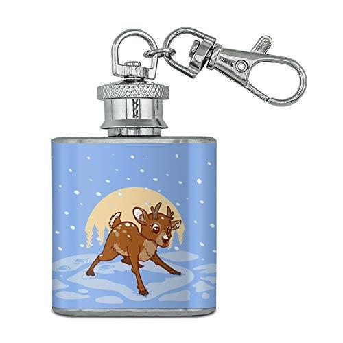 Baby Rentier Weihnachts-Schlüsselanhänger aus Edelstahl, 28 ml - Baby-lernt Flasche