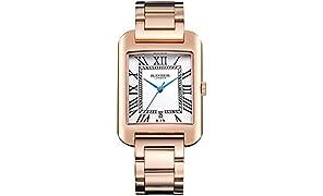 Blenheim London® B3180Curve Rose Gold Armbanduhr Weiß Römische Zahl mit blauen Hände mit Edelstahl Gurt