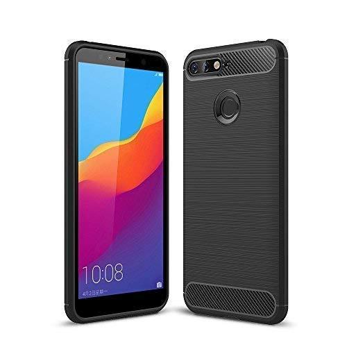König Design geeignet für Huawei Honor 7A Bumper Case Hülle aus TPU Silikon | Sturzsichere Back-Cover Handyhülle in Schwarz | Im Carbon Look