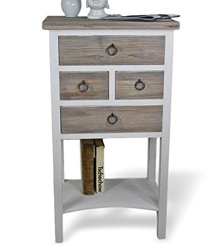 elbmöbel Kommode Telefontisch in braun weiß Tisch aus Holz mit 4 Schubladen im Landhaus Chic Used-Look Vintage Telefontisch - 82 cm Höhe