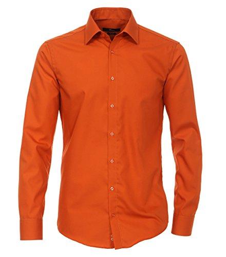 Venti - Slim Fit - Bügelfreies Herren Langarm Hemd in verschiedenen Farben (001480 A) Orange (454)