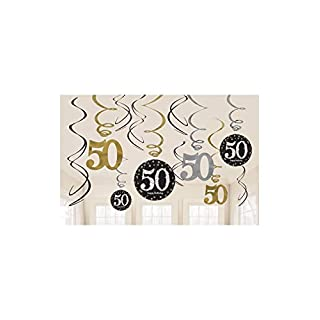 Amscan 670479 Gold Celebration 50th Swirl Decoration Value Pack